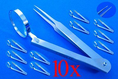 Magnifier Tweezers, Splinter Tweezers Extra Fine, 10x Top Quality