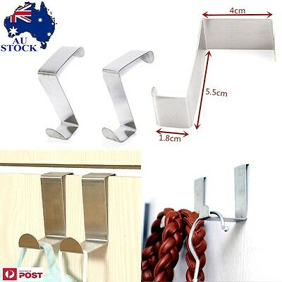 2pcs Stainless Steel Kitchen Cabinet Over Door Hook Clothes Hanger Holder AU