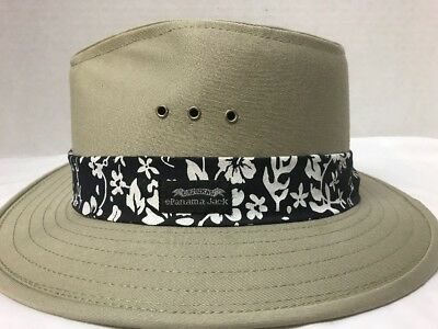 53b54068dc3e01 Men's Sun Hat Panama Jack Safari Tan (Medium) Hawaiian Band Cotton Canvas  Hats