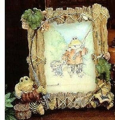 Boyds Wee Folkstone Frogs Frogmorton & Tad Fly Fishing Frame #27402 NIB 1st Ed