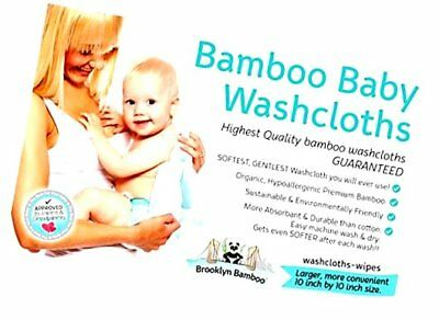 Brooklyn Bamboo 10x10-Inch Hypoallergenic Baby Wipes - Blue (Pack of 6)