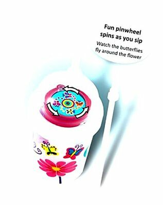 nuSpin Kids 8 oz Sip & Spin Straw Cup + Bonus Zoomi Straw, Butterflies Fly..