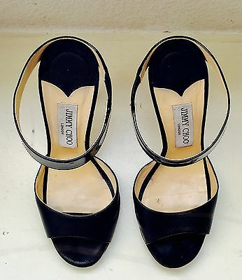 womens 37 black jimmy choo 4 inch heels with shoe bag and box