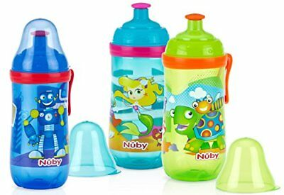 Nuby 2-Pack Pop-Up Sipper Cup with Spout and Cover, 12 Ounce, Colors May V..