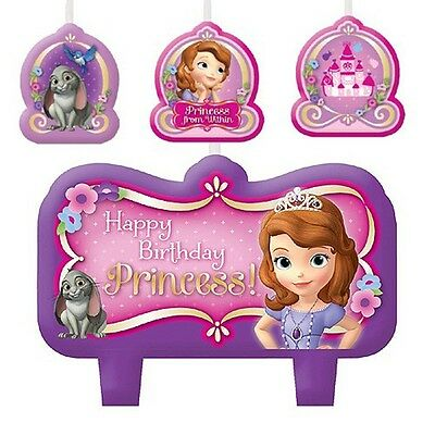 SOFIA THE FIRST 4 CANDLES Party Supplies Birthday Cake Kids Decorations CD6