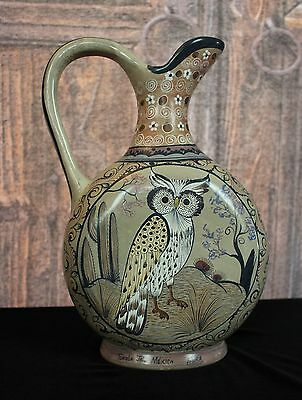 Lovely Hand Painted Tonala Pitcher with Owl, Mexico Great gift for Wise Person!