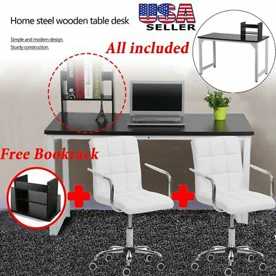 Home Office Wood Black Computer Desk PC Laptop Table Workstation Study Furniture