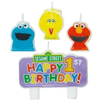 SESAME STREET 1ST BIRTHDAY 4 CANDLES Party Supplies Cake Kids Decorations CD8