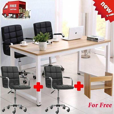 Home Wood Office Computer Desk Laptop Table Workstation Study Furniture w/ Chair