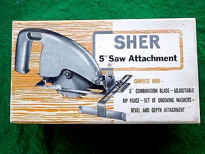 "Vintage Sher Power Tools Australia 5"" Saw Attachment with rip fence etc As New !"