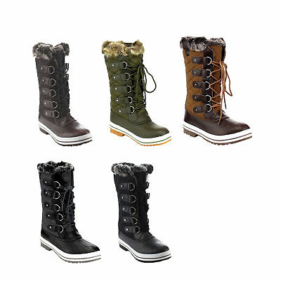 ShoeDx Gift Women Lace Up Waterproof Quilted Mid Calf Weather Winter Snow Boots