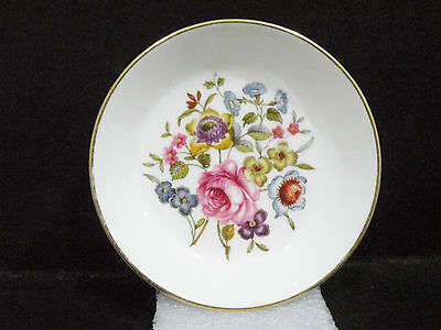 "Royal Worcester Coaster / Pin Dish / Butter Pat - flowers - vgc (3 7/8"")"