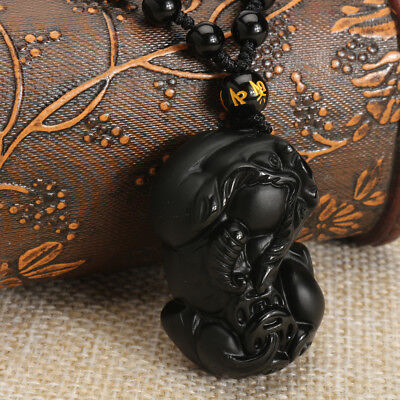 Natural Black Obsidian Hand-carved Lovely PiXiu Lucky Pendant Necklace Jewelry