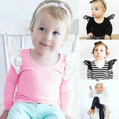 Newborn Baby Girls Infant Lace Long Sleeve T Shirt Clothes Tops Tee