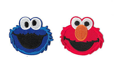 SESAME STREET IRON ON / SEW ON 2-PIECE PATCH SET Embroidered Badge ELMO PS4