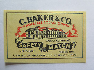 C BAKER & Co TOBACCONIST MATCHES MATCH BOX LABEL c1950s NORMAL SIZE FOREIGN MADE