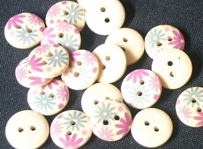 20 Purple & Blue Flowers Wood Buttons -13mm- Sewing,Craft,Scrapbooking,Quilting