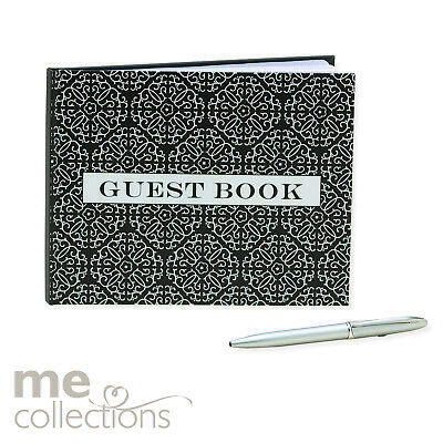 Guest Book General Black And White With Pen