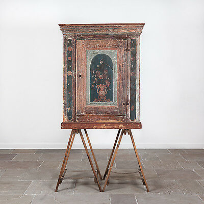 Early 19th Century Painted Swedish Cupboard. Antique Scandinavian Furniture.