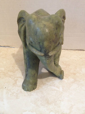 Vintage Hand Crafted Marble Stone Collectible Elephant Figure on Plinth