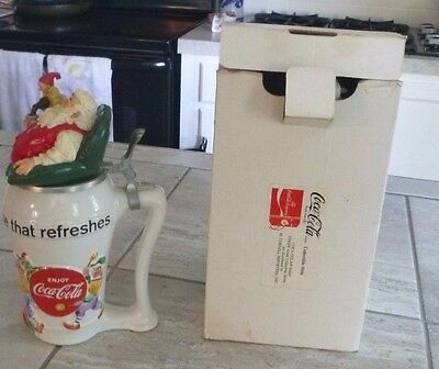 Coca-Cola Beer Stein Santa with Elf, The Pause That Refreshes w/ certificate '94