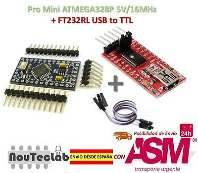 Pro Mini ATMEGA328P 5V/16MHz + FTDI FT232RL USB to TTL Serial Converter
