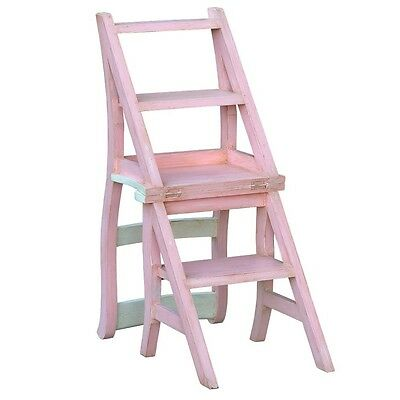 isabel blush & pale blue chair with library steps W40 x D45 x H90 cm