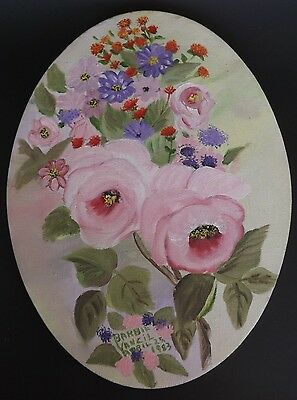 """Signed Oval Painting/Painted Canvas Pink Floral Shabby Chic/Cottage 9"""" x 12"""" VTG"""