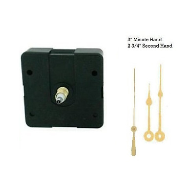 "Clock Movement Mechanism Quartex with 3"" Gold Spade Hands Long Shaft"