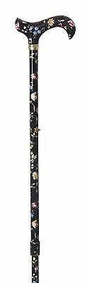 Tea Party Derby Height Adjustable Walking Stick in Black Floral by Classic Canes