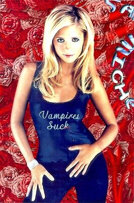 "Sarah Michelle Gellar - In A Blue Tank Top That Says ""vampires Suck """