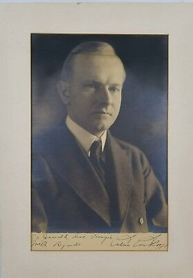 Calvin Coolidge signed 12.5 x 17 matted Harris & Ewing Portrait photo