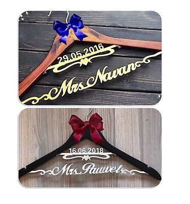 Personalized Bride Bridesmaid Name & Date Wedding Hanger, Custom Bridal Gift