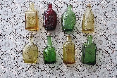 Set of 8 Miniature Wheaton Bottles in Red Green  Amber Some with Corks