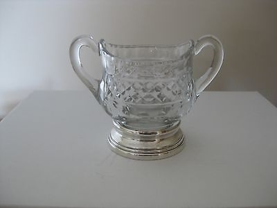 Sterling Silver and cut glass sugar bowl stamped on base VGC
