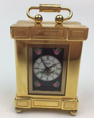 Miniature Brass Mantle Clock Pink Flowers By Rumours