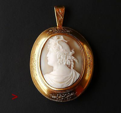 Antique European Gilt Silver Dionysus Carved Shell Cameo pendant / brooch /11.4g