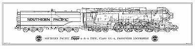 "Southern Pacific ""Daylight GS-4"" 4-8-4 Type Locomotive & Tender Drwg - Side View"