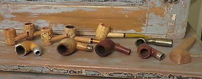 Vintage Smoking Pipes Corn Pipes Tobacco Pipes Mixed Lot Of Pipes