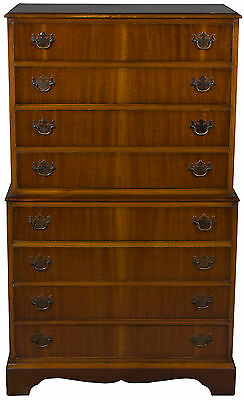 Antique Style Mahogany Tallboy Chest of Drawers Tall Dresser Mid-Century Bedroom