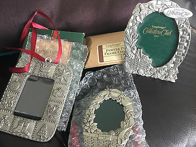 Longaberger set of 3 Pewter Frames- 2 are picture ornaments