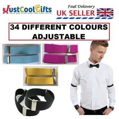 2pcs ADJUSTABLE SHIRT SLEEVE HOLDERS ARM BANDS MENS WOMENS 34 COLOURS AVAILABLE
