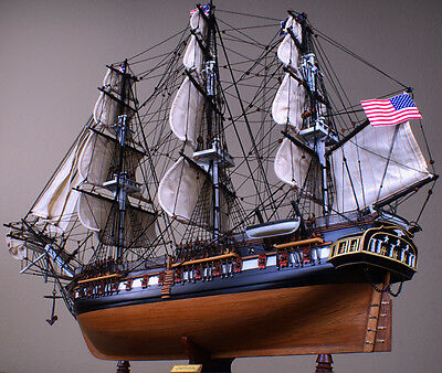 """USS Constitution 36"""" wood ship model sailing tall boat"""