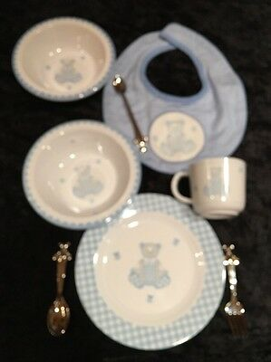 Reed & Barton by Lenox Gingham Teddy Bear Blue 8pc Dinnerware Silverware Set
