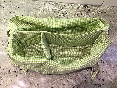 Pottery Barn Kids White Sabrina Diaper Caddy Basket Green Gingham Liner
