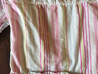 Pottery Barn Kids Stripe Crib Bedskirt Dust Ruffle Skirt Pink Green Blue Stripe