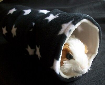 COZY PETS guinea pig bed house ,ferret ,fleece play tunnel,tube,toy  BLACK STAR