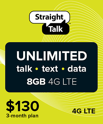 Straight Talk $130 Unlimited 3 Months 8GB Service Card
