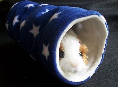 COZY PETS guinea pig tunnel bed house ,ferret ,fleece play ,tube,toy  BLUE STAR