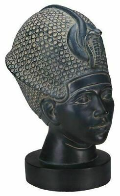 """Egyptian Bust Of King Tut with Blue Crown Statue  Figurine 6.25""""H 4.5""""L 3.5""""W"""
